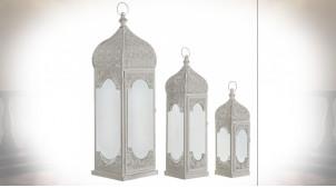 Série de 3 lanternes en métal gris clair de style oriental effet moucharabieh 73 cm