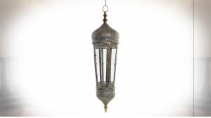 Grande lanterne octogonale suspendue en métal argenté de style oriental 134 cm