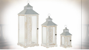 Série de trois lanterne de style romantique et rustique en bois et métal de couleur blanche 86 cm