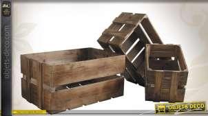 Série de 3 caisses en bois vieilli de style rustique