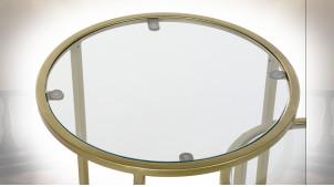 TABLE AUXILIAIRE SET 2 FER VERRE 40,5X40,5X55,5