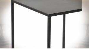TABLE AUXILIAIRE SET 3 FER FORGÉ 30X30X70 MAT NOIR