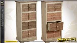 Chiffonnier 4 tiroirs en pin cérusé avec poignées céramique