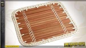 Dessous de plat carré en bambou et rotin tressé en finition blanche, 22cm