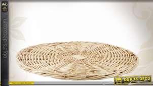 Grand dessous de plat en osier tressé blanc Ø50 cm, style campagne rustique