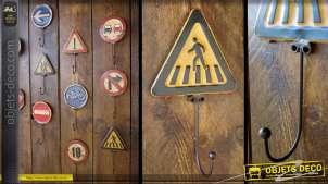 Crochet panneau de signalisation rétro : Passage piétons