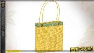 Sachet en papier corde jaune et vert - Lot de 10 sachets