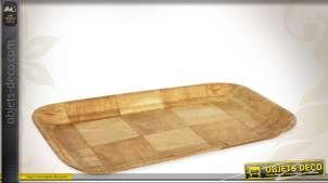 Plateau de service en bois de bouleau richement veiné, garanti alimentaire, finition clair, 30x20cm