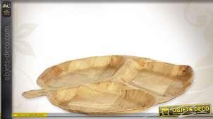 Plateau de service compartimenté en bouleau naturel richement veiné et texturé, style rétro, 33cm
