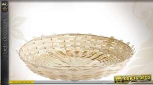 Corbeille ronde de table plate en bambou Ø 25 cm