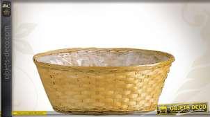 Corbeille ronde en bambou avec doublure intérieur PVC