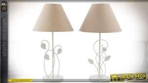 Duo de lampes de chevet en métal blanc et abat-jour coniques 45 cm