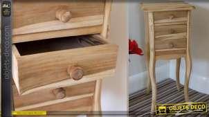 Table de chevet haute bois massif 3 tiroirs bois naturel