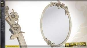 Miroir ovale style rétro et romantique patiné à l'ancienne 51 cm