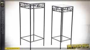 Duo de sellette en métal noir imitation fer forgé avec plateaux en verre