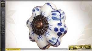 Bouton de tiroir ou porte en porcelaine bleu et blanc