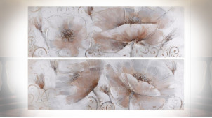 TABLEAU TOILE PIN 150X3,5X50 COQUELICOTS 2 MOD.