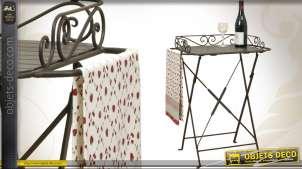 Table d'appoint pliante en bois et métal coloris brun antique