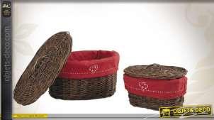 Deux paniers en osier brut avec doublure coton coloris rouge