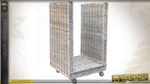 Porte-bûches à roulettes en poelet gris armature métal