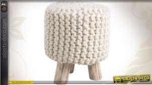 Pouf tabouret en bois et laine à grosse mailles coloris blanc