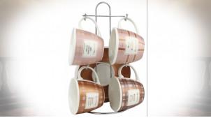 CAFÉ SET 4 NEW BONE MÉTAL 8,5X8,5X7 210ML ROSE
