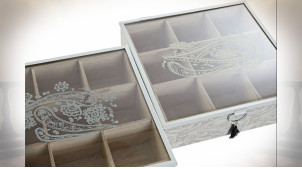 BOÎTE INFUSIONS MDF VERRE 24X24X6,5 PAISLEY 2 MOD.