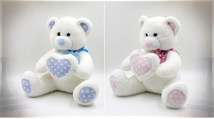 PELUCHE POLYESTER 20X25X33 COEUR OURS 2 MOD.