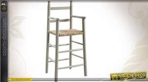 Chaise haute en hêtre laqué gris, siège roseau