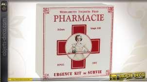 Boîte vintage en métal Trousse à pharmacie Croix Rouge