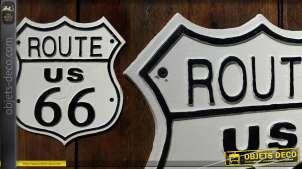 Plaque déco mural en métal Route 66 US
