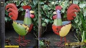 Coq stylisé multicolore en métal 50 cm