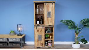 Armoire en bois de manguier massif, style moderno indus avec portes coulissantes et tiroirs, 180cm