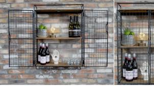 Casier mural en métal grillagé 2 niveaux avec support pour verre, étagères en bois de manguier, 88cm