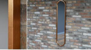 Grand miroir ovale avec encadrement finition cuivre ancien, ambiance vieille industrie, 130cm