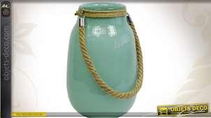 Vase en verre teinté turquoise opaque avec cordage
