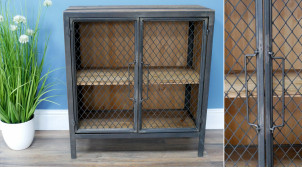 Buffet d'appoint en bois de sapin et métal avec 2 portes grillagées, ambiance indus aux finitions vieillies, 66cm