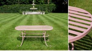 Table basse de jardin ovale en métal esprit fer forgé, finition rose dragée, ambiance douce et chic, 100cm
