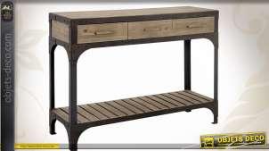Console en bois et métal de style industriel avec 3 tiroirs