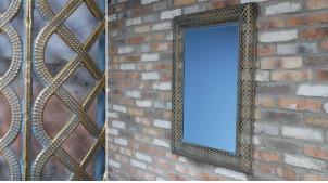 Grand miroir mural rectangulaire, encadrement en métal effet lacets finition doré ancien, 100cm