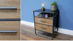 Table de chevet de style moderne en métal anthracite, 2 tiroirs en bois de sapin et plateau en verre, 59cm
