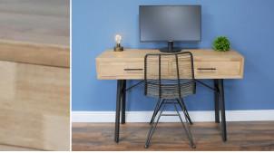Bureau d'appoint en bois finition clair et structure en métal noir, ambiance moderne chic, 2 tiroirs, 121cm