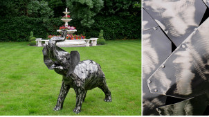 Sculpture en métal d'un éléphant, finition charbon et argenté brillant, 125cm d'envergure