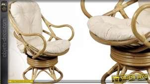 Fauteuil pivotant et basculant en rotin avec coussins kapok