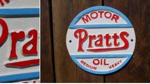 Plaque murale en métal de forme ronde, ambiance garage vintage, Pratts automobile Ø24cm
