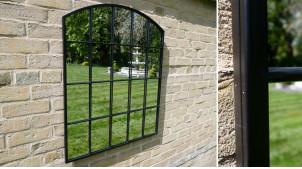 Miroir mural en métal finition noir charbon, style fenêtre avec fronton arrondi, 91cm