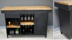 Grand meuble bar en métal finition noire et plateau en bois massif de manguier, porte et tiroirs de rangement, 162cm