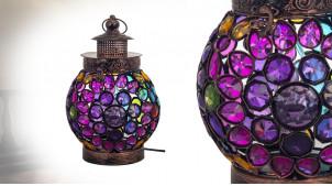 Lanterne électrifiée en métal et acrylique multicolore, ambiance orientale finition cuivré bronze, 27cm