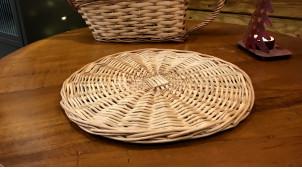 Dessous de plat / Corbeille à pain plate en osier clair finition naturel, forme ronde Ø25cm