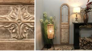 Déco murale en bois et métal en forme d'ancienne porte, ambiance campagne chic, finition clair et blanc usé, 168cm